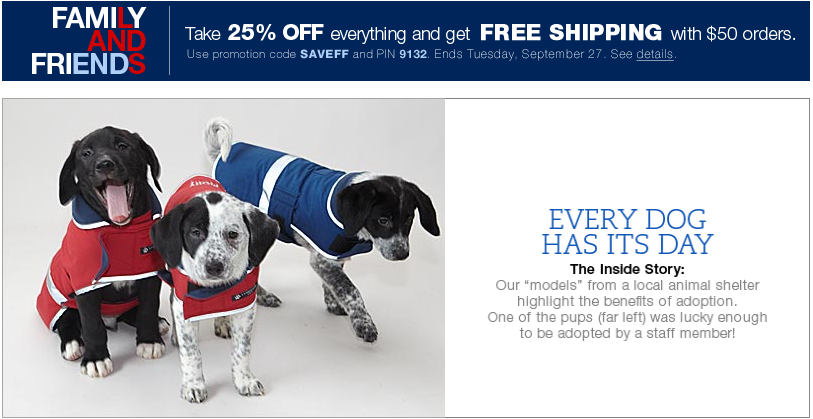 free shipping plus 25% off for dogs at Lands End with promo code