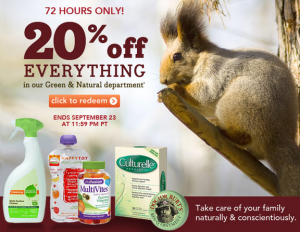 20% off promo for drugstore green and natural products