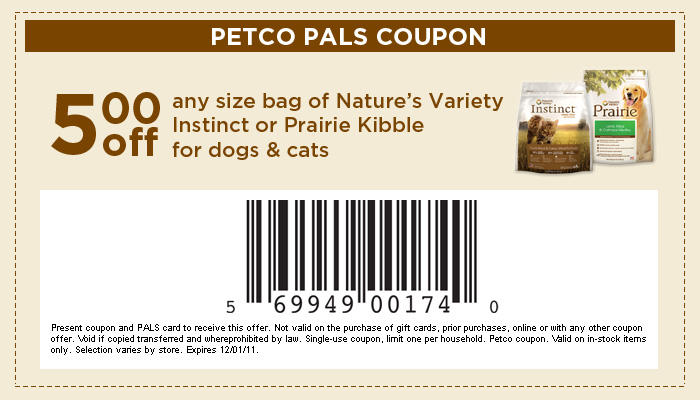 graphic regarding Printable Pet Coupons titled $5 Off Any Dimensions Bag of Natures Wide variety Puppy or Cat Foodstuff with