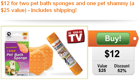 as seen on tv pet bath sponge and shammy half off plus free shipping