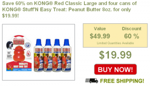 60 percent off large Kong and stuffin