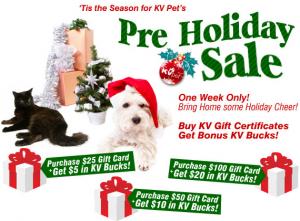 KV Pets pre-holiday sale