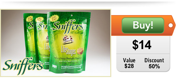 half off sniffers puppy treats
