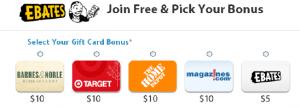 pick your bonus gift card