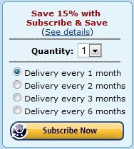 Subscribe and Save 15% at Amazon