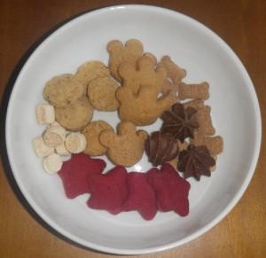 three dog bakery cookies closeup