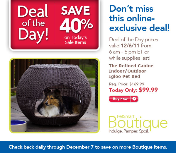 40% Off The Refined Canine indoor/outdoor Poly Rattan Igloo Pet Bed