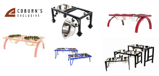 examples of Coburn's Exclusive custom dog feeders
