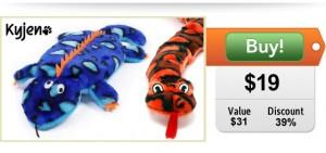 Kyjen gecko and snake dog toys