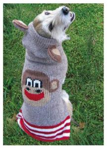 Handmade Wool Monkey Dog Hoodie with Ears