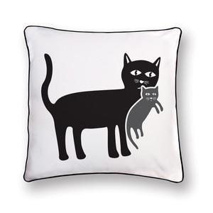 cat with her kitten pillow