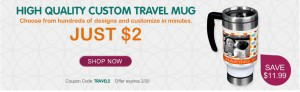 Put your dog's photo on a travel mug only $2!