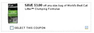 Printable coupon for World's Best Cat Litter