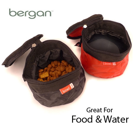 zip up food and water pet travel bowls