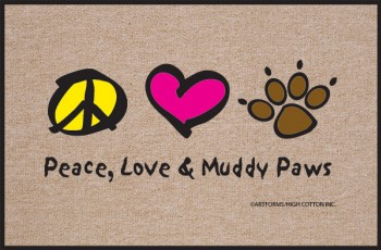 Peace, Love & Muddy Paws Doo Mat