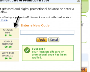 $2 MP3 Credit with Amazon Promo Code