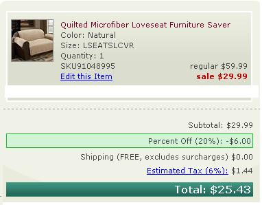 Kohls furniture cover sale order