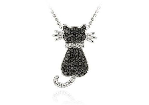 Black Diamond Cat Pendant on sale