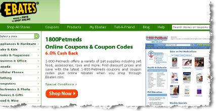 ebates pet deals and cash back