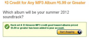 free Amazon credit toward MP3 album