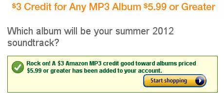 free Amazon credit toward MP3 album