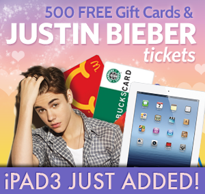 win biebier ipad giftcards