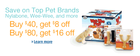 Amazon Pet Sale on Nylabone, Wee-Wee Pads and other dog toys and treats