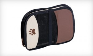 collapsible pet play pen, shown folded up for travel, brown and tan with paw print design