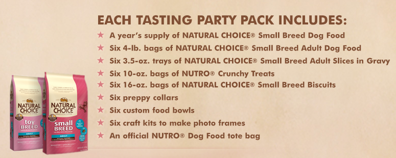 Description of the prize package for the Nutro Ultimate Dog Food Tasting Party Sweepstakes!