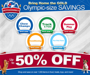 celebrating the olympics with up to 50% Off pet supplies banner
