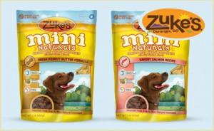 bag of Zukes Mini Naturals dog treats in peanut butter flavor and bag of zukes mini naturals dog treats in salmon flavor