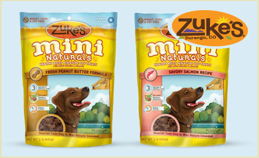 bag of Zukes Mini Naturals dog treats in peanut butter flavor and bag of zukes mini naturals dog treats in salmon flavor