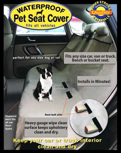 waterproof car seat cover fits any vehicle and has slots for seatbelts, cute little dog in car