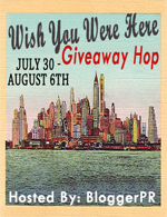 postcard with NYC skyline image, Wish You Were Here Giveaway Hop Event
