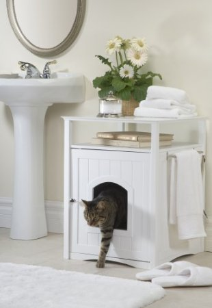 hide litter box for cat with white pet house