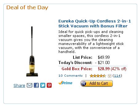 Eureka QuickUp Cordless Stick Vacuum