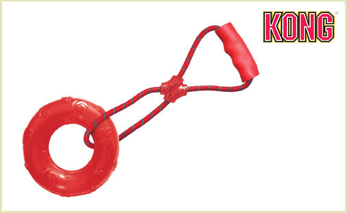 red KONG toy, dog toy, tug toy, KONG Squeezz Ring Tug Toy