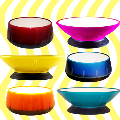 modern dog bowls, colorful pet bowls, pet bowls, dog bowls, hot pink, orange, green, yellow, red, blue, bowls