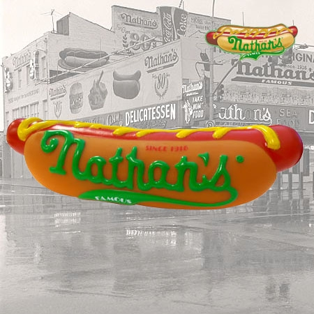 Nathan's Hot Dog, Squeaky toy, dog toy, dogs, hot dogs