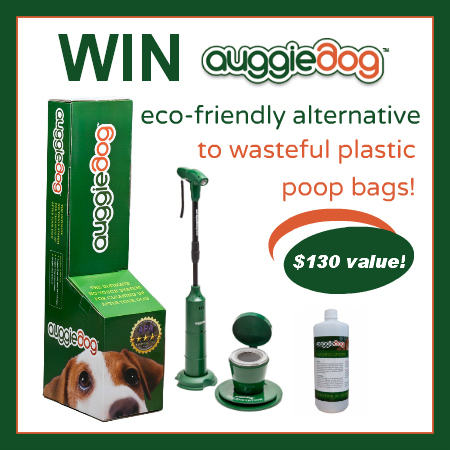 green auggiedog power tool, charging station, cleansolution for picking up and disposal of dog poop