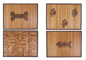 bamboo placemat, dog placemat, fish bone design placemat, dog bone, paw print, placemat