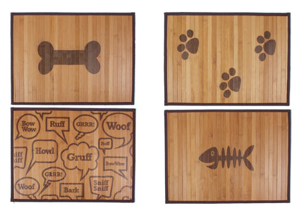 bamboo placemat, dog placemat, fish bone design placemat, dog bone, paw print, placemat