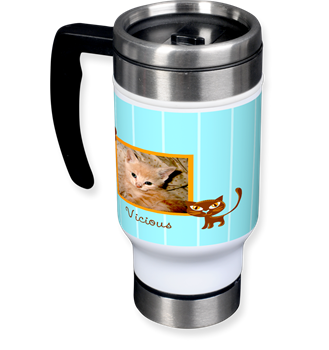 silver travel mug, cat, cute kitty photo, custom mug