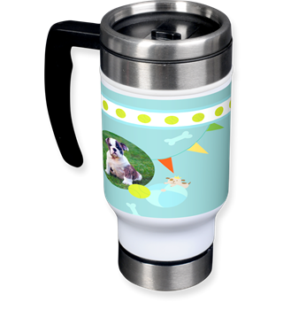 travel mug, silver travel mug, dog design mug