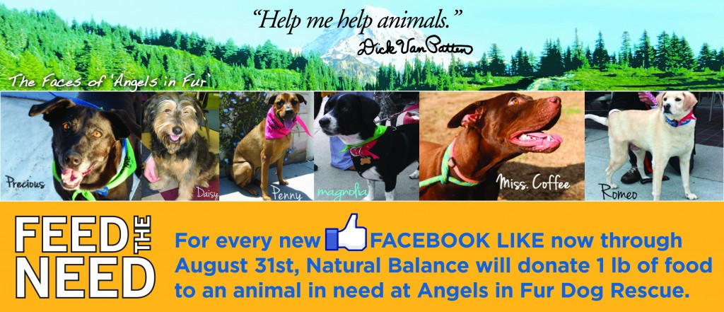 Natural Balance, Facebook likes, donate food to dogs in need, angels in fur rescue