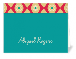 custom note cards with name, text and pretty designs