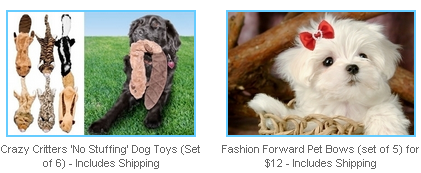 Crazy Critters dog toys and pet bows