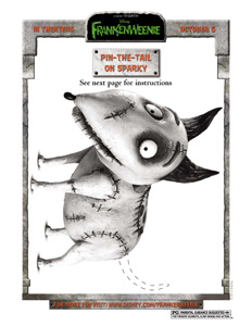 FRANKENWEENIE - Pin The Tail Game Activity Sheet