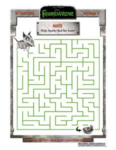 FRANKENWEENIE - Sparky Maze Printable