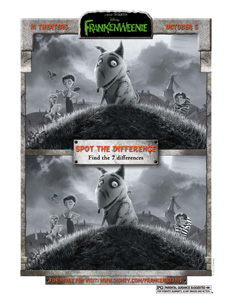 FRANKENWEENIE - Spot The Difference Printable Activity Sheet